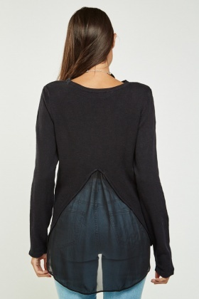 Sheer Insert Back Thin Knitted Top