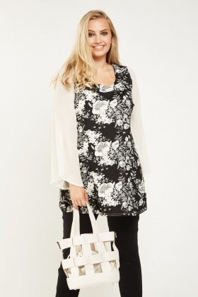 Contrast Printed Flare Sleeve Top