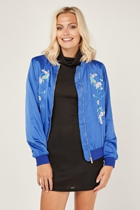 Embroidered Floral Sateen Bomber Jacket