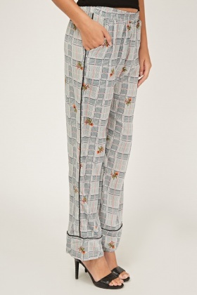Floral Glen Check Print Trousers