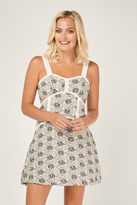 Print Cut Out Side Mini Dress