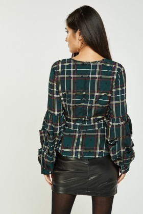 Ruched Sleeve Tartan Peplum Top