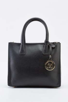 Faux Leather Detailed Box Handbag