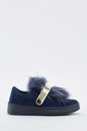 Fluffy Contrast Suedette Trainers