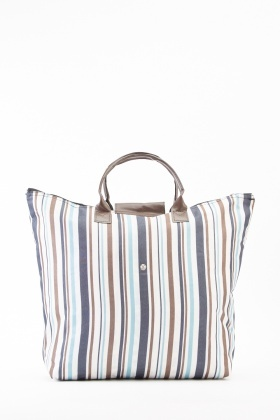 Foldable Striped Shopper Bag
