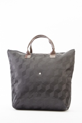 Printed Black Foldable Shopper Bag