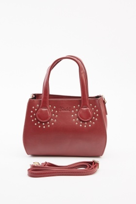 Studded Trim Maroon Handbag