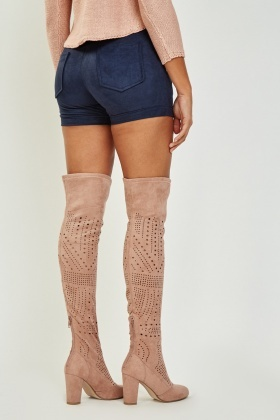 Suedette Laser Cut Knee High Boots