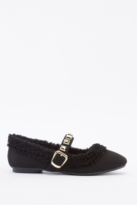 Teddy Bear Trim Suedette Shoes