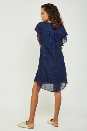 Crochet Contrast Navy Dress