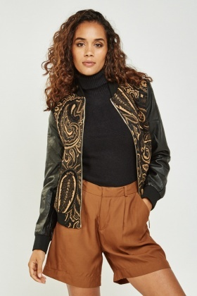 Embroidered Front Contrast Sleeve Jacket