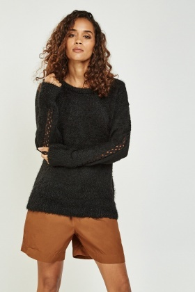 Eyelash Knit Cut Out Shoulder Jumper