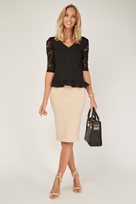 Laced Sleeve Contrast Peplum Top