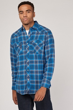 Long Sleeve Checked Blue Shirt