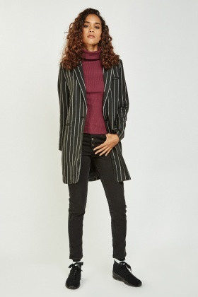 Pinstriped Long Line Jacket