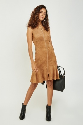 Suedette Zipped Front Dress