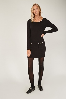 Twin Pocket Front Knitted Dress