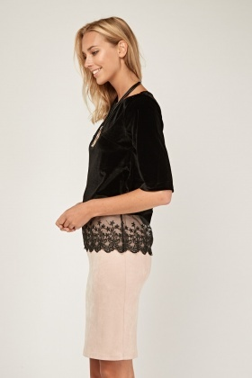 Velveteen Lace Trim Top