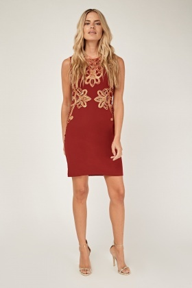 Metallic Mesh Overlay Dress