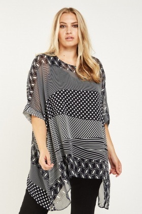 Mix Print Sheer Box Top