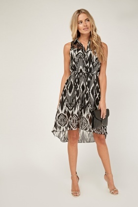 Printed Lace Insert Dress
