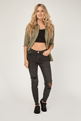 Ripped Knee Distressed Charcoal Jeans