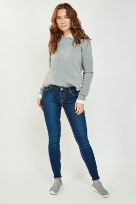 Skinny Push Up Dark Blue Jeans