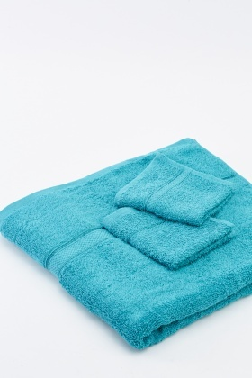 Teal Cotton 3 Piece Towel Set