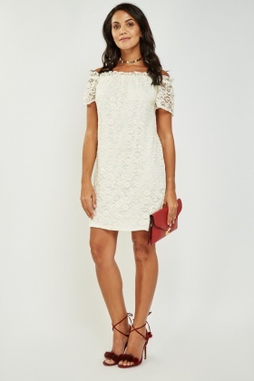 Lace Overlay Off Shoulder Dress