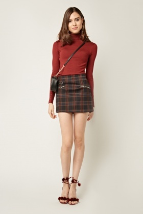 Tartan Mini Zipped Skirt