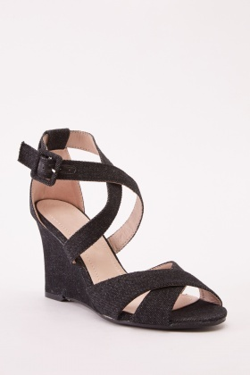 Denim Crossed Strap Wedge Shoes