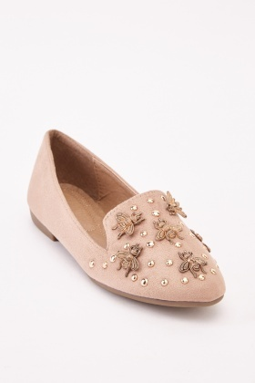 Embellished Beee Suedette Shoes