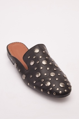 Faux Leather Studded Mules