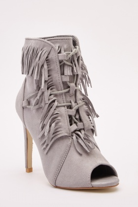 Fringed Open Toe Ankle Boots