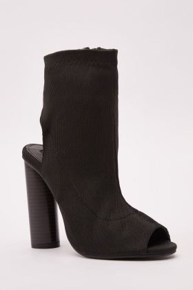 Ribbed Open Toe Ankle Boots