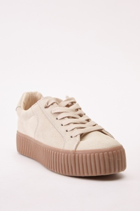 Suedette Platform Lace Up Trainers