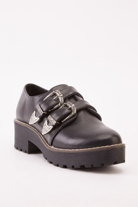 Twin Buckle Faux Leather Shoes