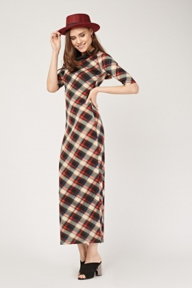Checked Cowl Neck Maxi Dress