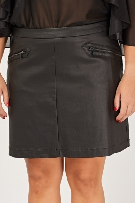 Faux Leather Black Zipped Skirt