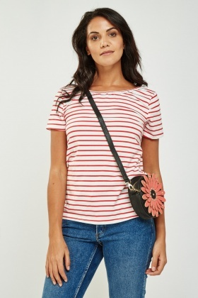 Crochet Trim Striped T-Shirt