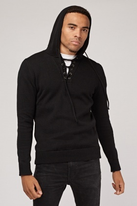 Lace Up Ribbed Knit Hoodie