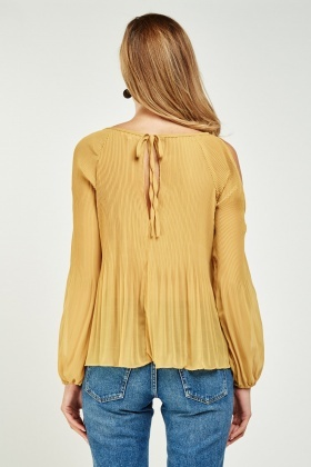 Pleated Cut Out Shoulder Chiffon Top