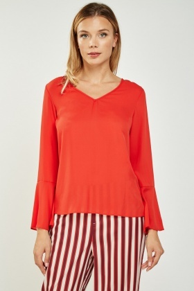 Red Flare Sleeve Blouse