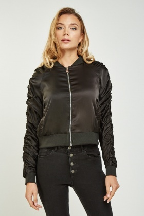 Sateen Ruched Bomber Jacket