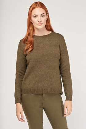 Contrast Wrap Back Knitted Top