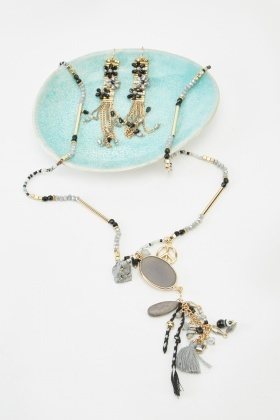 Embellished Mixed Y-Necklace And Earrings Set