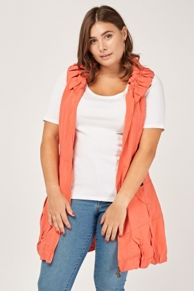 Ruched Sleeveless Long Jacket