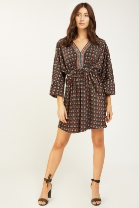 Soft Knit printed Batwing Sleeve Dress