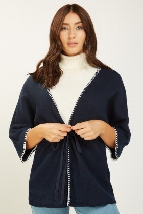 Stitched Trim Knitted Cape
