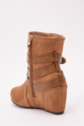 Buckled Suedette Wedge Boots